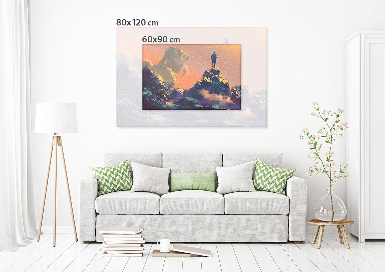 mann auf dem h gel beobachtete die sterne leinwand kreativfabrik onlineshop. Black Bedroom Furniture Sets. Home Design Ideas