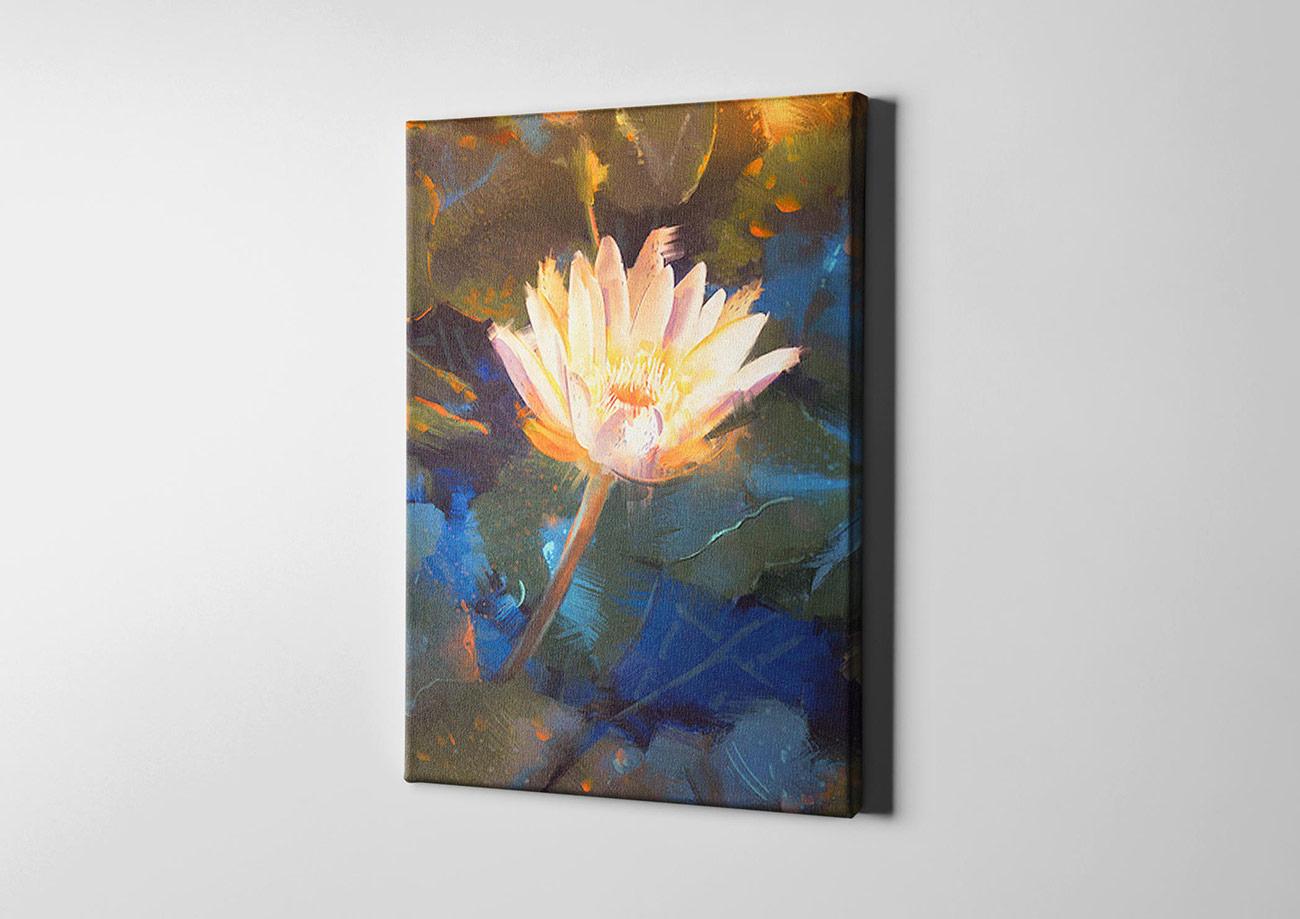 gelbe lotusbl te leinwand kreativfabrik onlineshop. Black Bedroom Furniture Sets. Home Design Ideas